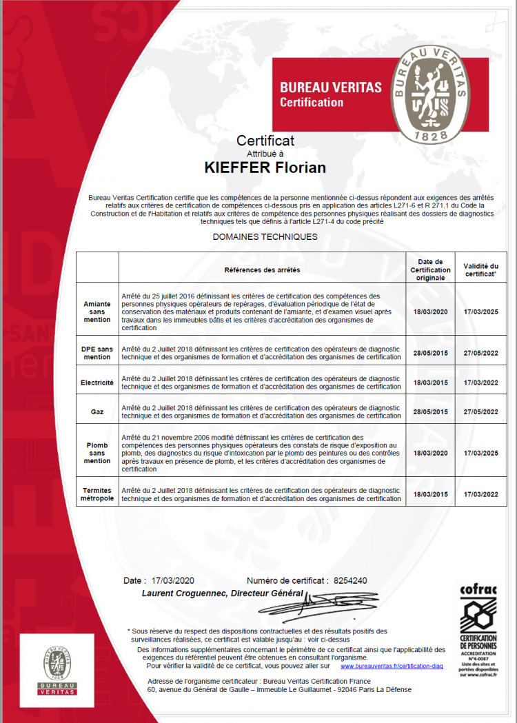 Certifications du diagnostiqueur immobilier